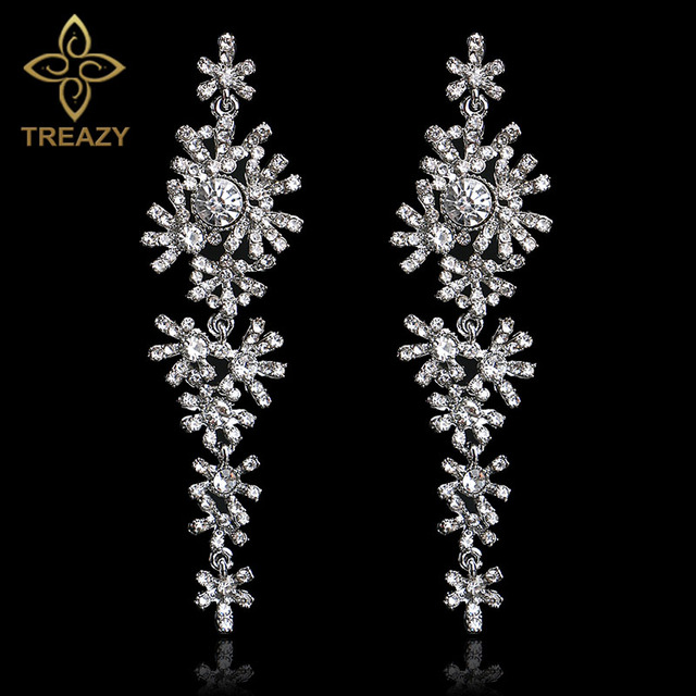 Treazy Beautiful Snowflake Crystal Bridal Long Drop Earrings Silver Color Chandelier For Women Wedding Accessories