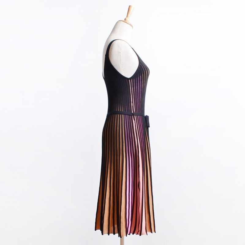 Twotwinstyle sexy suspender vestido feminino sem mangas com decote em v hit cores soltas midi vestidos plissados feminina moda verão 2019 novo