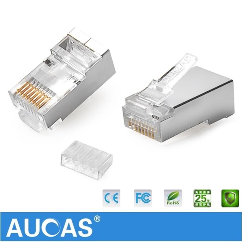 AUCAS högkvalitativ 50st 100pcs rj45 kontaktplugg cat6 skärmad 8p8c - Datorkablar och kontakter - Foto 2