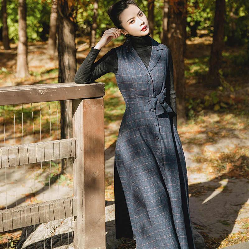 Пластичный монтаж, Демисезонный Вельветовое платье Для женщин черный Винтаж шерсть элегантное облегающее Платья для вечеринок в клетку длинная Maxi dress Vestidos