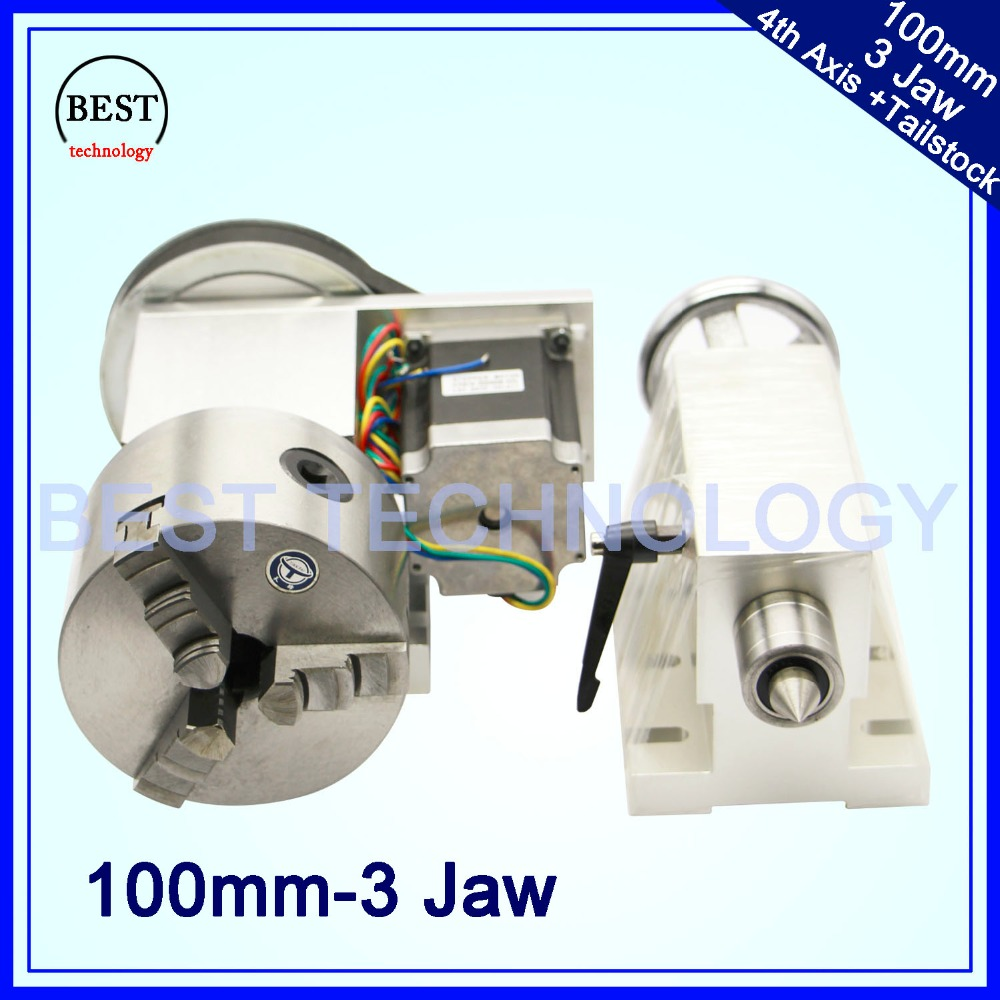 100mm CNC 4th Axis+Tailstock, CNC Dividing Head/Rotation Axis/A Axis Kit  For Mini CNC Router/engraver Woodworking Engraving