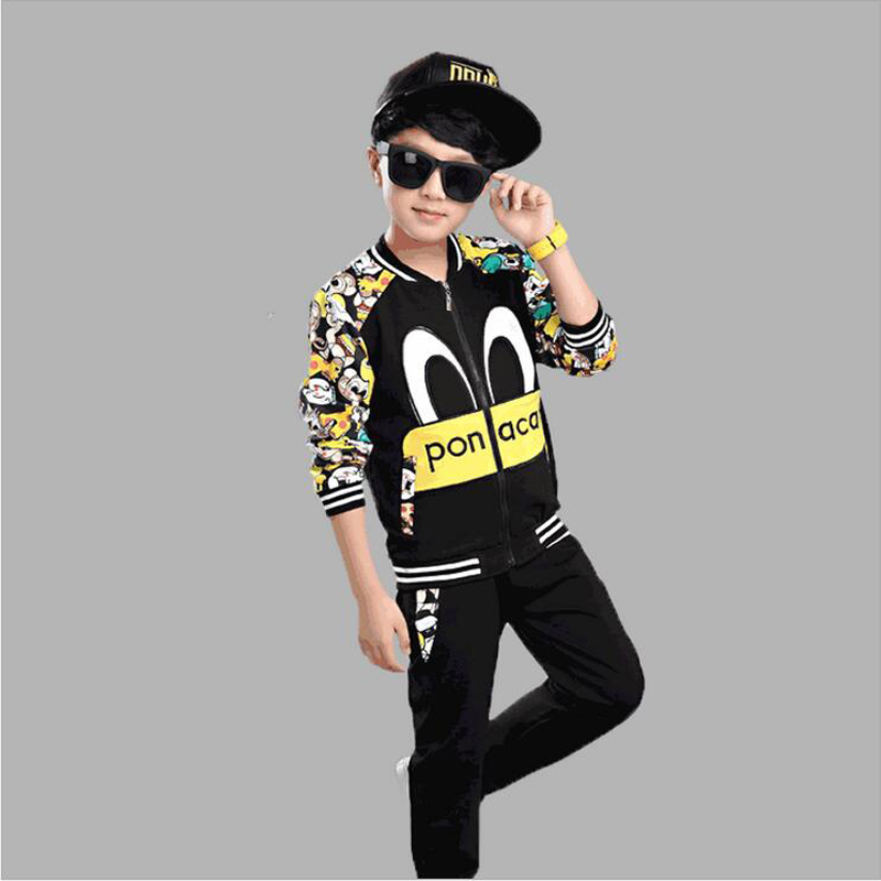 Boys Clothes Set Baseball Jacket + Pants Two-pieces Suit Cotton Long Sleeve Costume Girls Clothes Sets Children Clothing Sets 2017 baby boys and girls clothes set long sleeve sport suit for boys children clothing cotton costume for kids suits 12m 8years