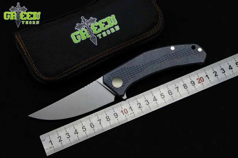 Green thorn Custom JEANS M390 MRBS folding knife TC4 Titanium handle outdoor camping hunting pocket kitchen