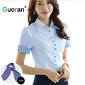 {Guoran} Women Shirts Wear To Work 2016 Summer New Office Ladies Formal Blouses Pink White Blue Femme Tops Business Shirts