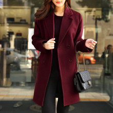 New Autumn And Winter Women's Woolen Coat Fashion Solid Color Long Section Long Sleeve Suit Collar Female Plus Sizes XLC562