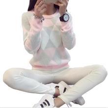 2016 Женщин Пуловеры Зимний Свитер Женская Мода Весна Осень Пуловеры С Длинным Рукавом Плед Повседневная Дамы Свитера