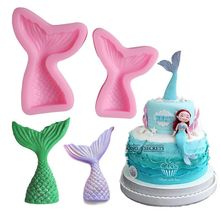 ISIX Christening Mermaid Tail Silicone Mold Fondant Cupcake Cake Decorating Baking Tools Handmade Soap Mold Fish Fork tail