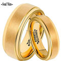 1 Pair 8mm & 6mm Couple Lover's 18K Real Gold Plated Tungsten Carbide Wedding Promised Ring Set for Boy & Girl Anniversary Gift