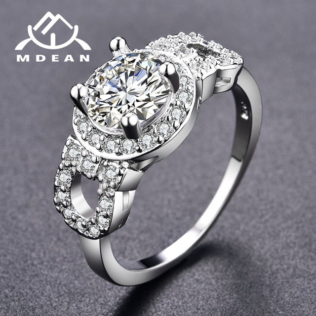 MDEAN White Gold Color Engagement Rings for Women AAA Zircon Jewelry