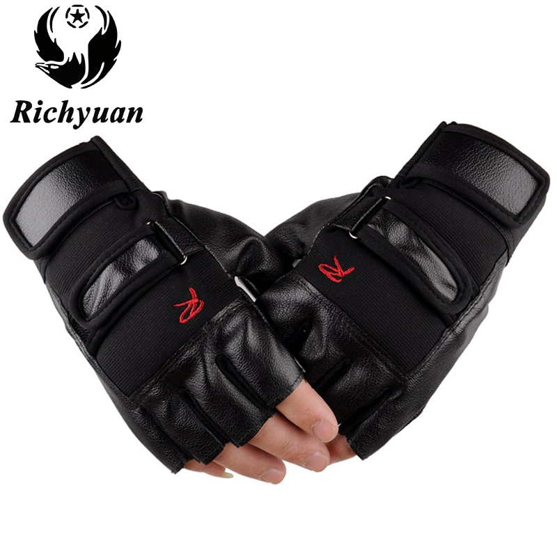 Men Exercise Training Gym Gloves Tactical Fitness Half Finger PU Leather Gloves Body Building Weightlifting Ridding Gloves