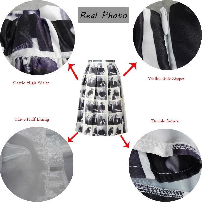 Vintage Monroe Photo Print High Waist Pleated Midi Skirt