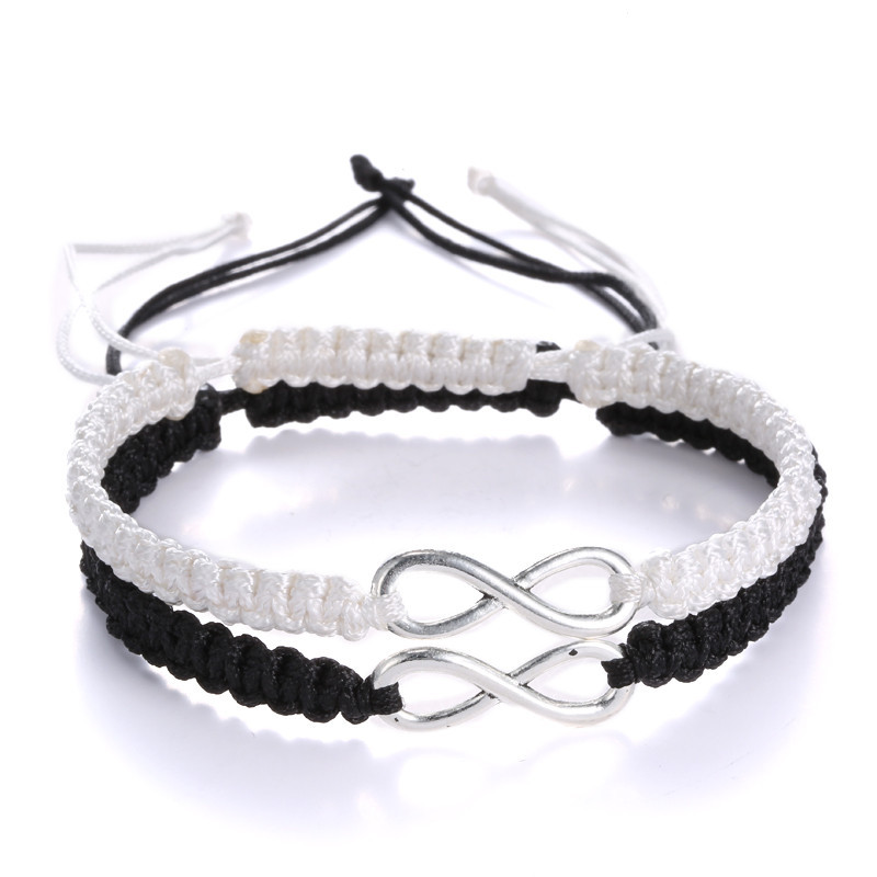 Couple 8 Infinity Bracelet Adjustable Rope Braided Wrap Bracelets Personal Women Men Lovers Sisters Jewelry  sonsuzluk bileklik