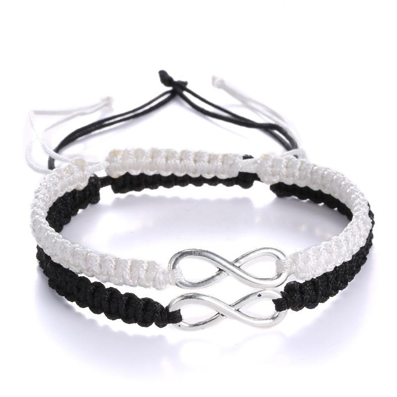 Пара 8 бесконечности браслет Регулируемая Веревка плетеные браслеты для женщин мужчин для влюбленных