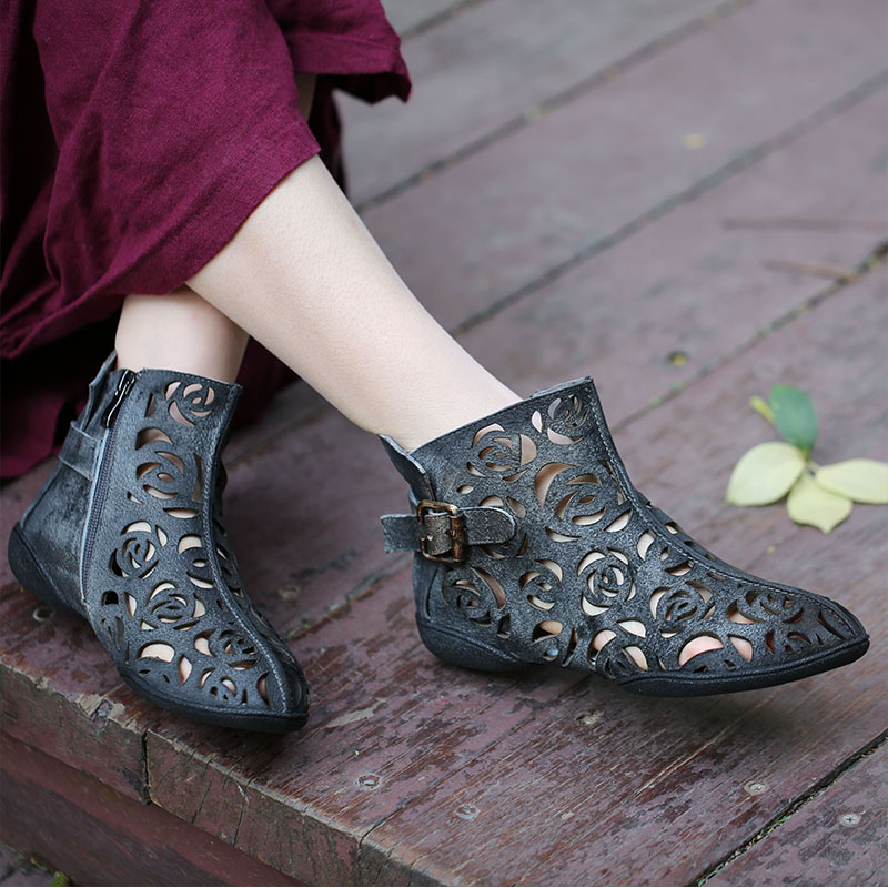 VALLU 2019 Summer Handmade Shoes for Women Ankle Boots Genuine Leather Hollow Out Buckle Flat Cool