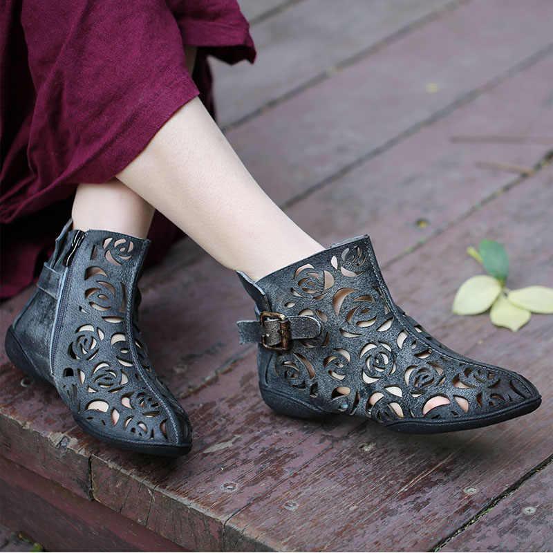 VALLU 2019 Yaz El Yapımı Ayakkabı Kadınlar için yarım çizmeler Hakiki Deri Toka Oymak Düz Serin Çizmeler Artı Boyutu 42