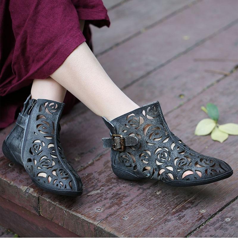 VALLU 2019 zapatos hechos a mano de verano para mujer botas de tobillo de cuero genuino con hebilla plana Cool botas talla grande 42-in Botas hasta el tobillo from zapatos    1