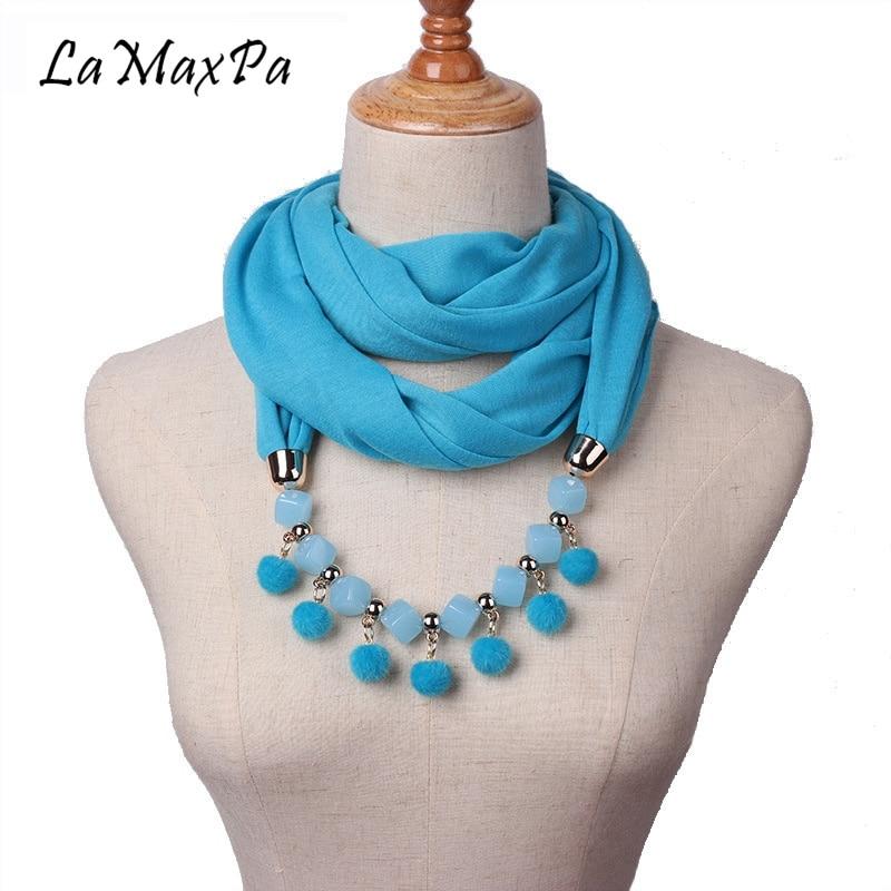 LaMaxPa 2018 New Pure Color Pendant Scarf For Women Small Wool Ball Necklace Pendant Fashion Women Scarf Female Elegant Echarpe
