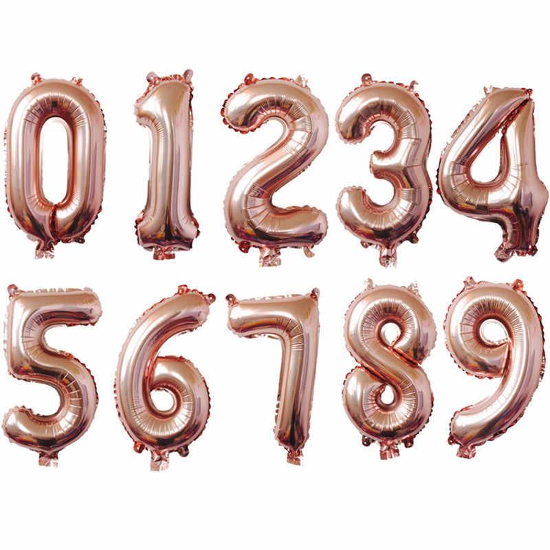 32 дюйма розового золота с бриллиантами Свадебные Воздушные шары воздушные гелиевые номер Фольга фигурками Happy День рождения украшения для детей на день рождения воздушные шары