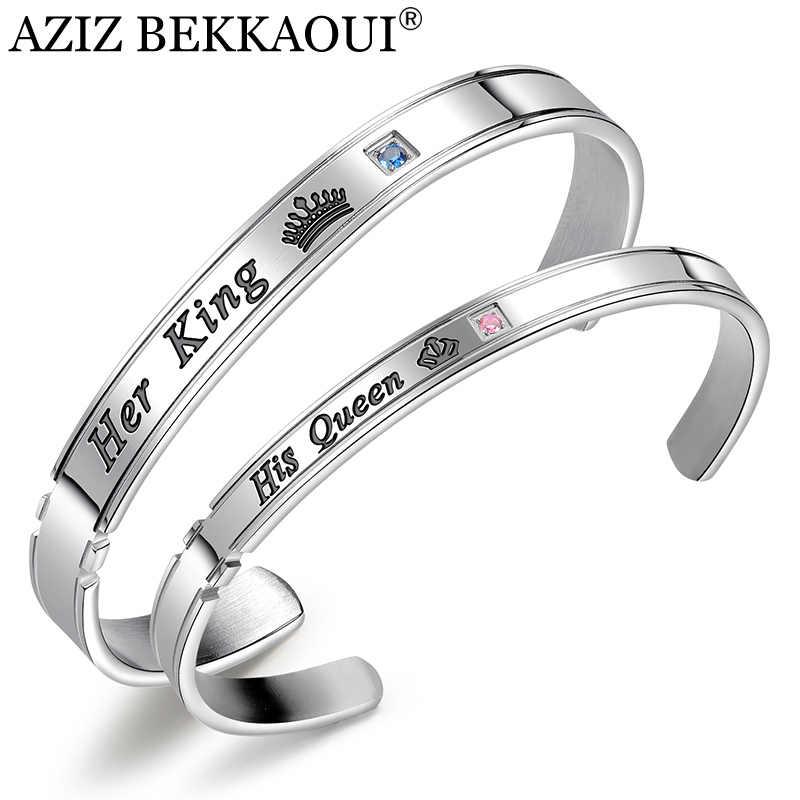 Aziz Bekkaoui Khắc Tên Mở Vòng Bít King & Queen Cặp Đôi Lắc Tay Thép Không Gỉ Vòng Tay Nữ Thời Trang Trang Sức Nam Tặng