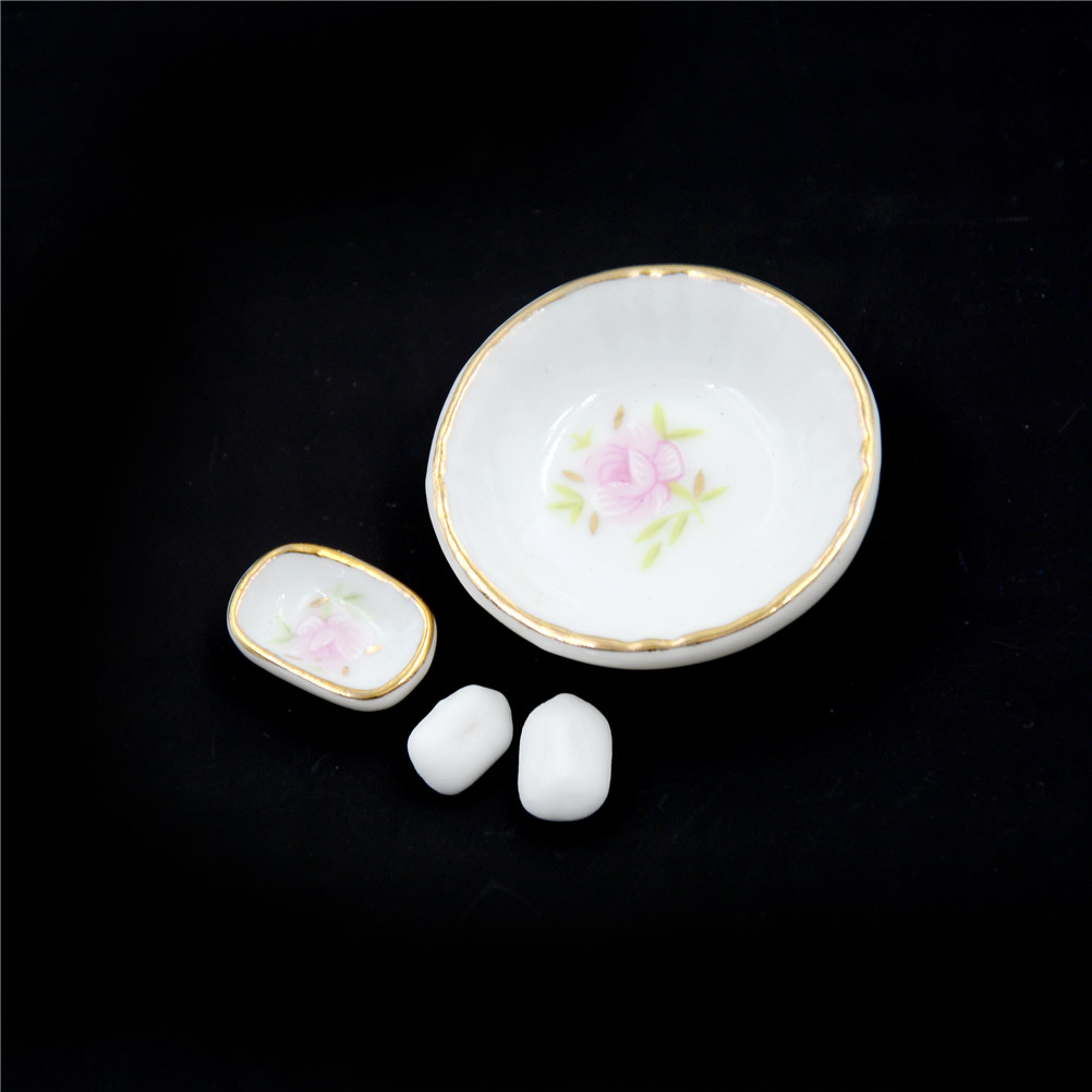 8Pcs 1//12 Miniature Dollhouse Bathroom Accessories Set Floral Ceramic ES