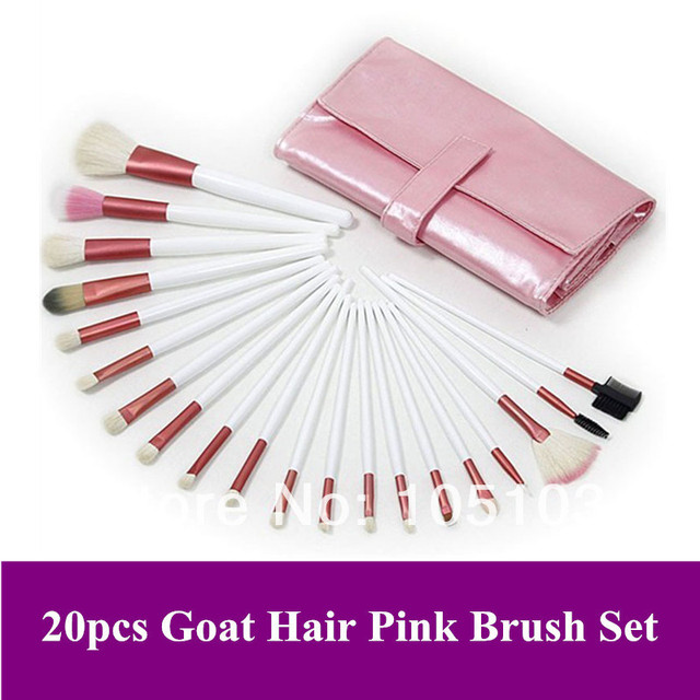 Free Shipping!! 20 Pcs natural animal Goat Hair Cosmetic Makeup Brushes set makeup Kit With lovely pink Bag Dropshipping!