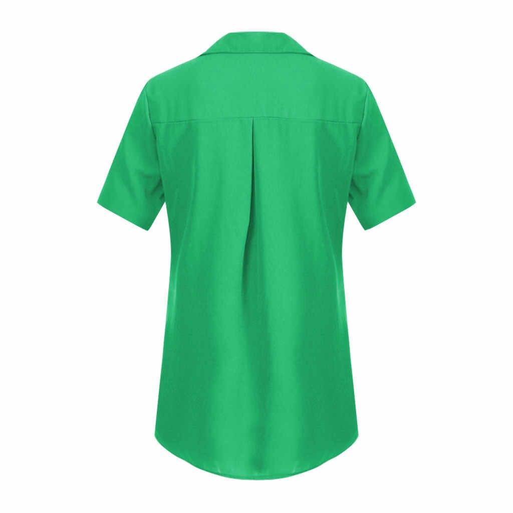 女性の夏のブラウス半袖ターンダウン襟オフィスボタンシャツ女性ボタンシフォンレディーストップスと blousesPullover トップス