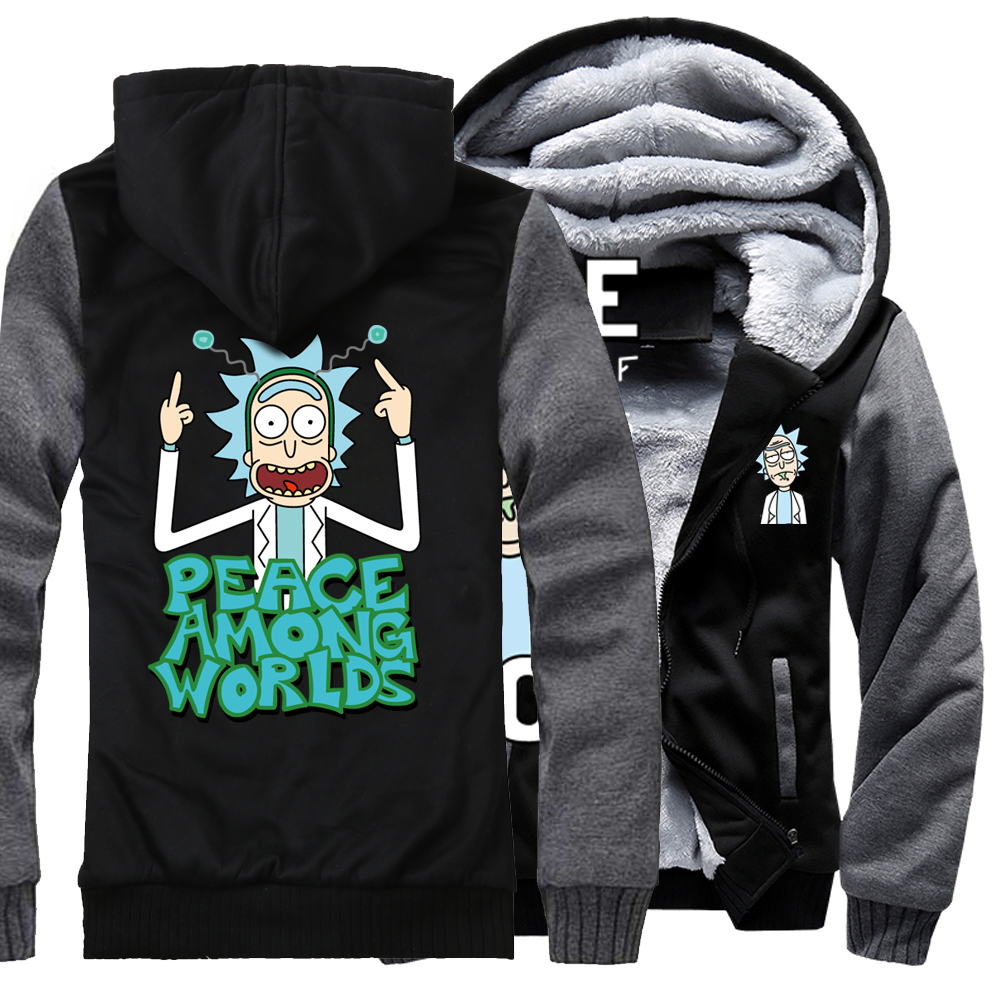 PEACE AMONG WORLDS Hoodies Men 2018 Thick Sweatshirts Fahsion Cartoon Rick And Morty Funny Hoody Mens Tracksuit Harajuku Hoodie