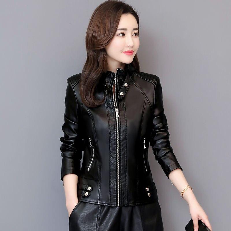 2019 spring and autumn new short women's   leather   jacket female motorcycle   leather   jacket Slim   leather   coat women clothing black