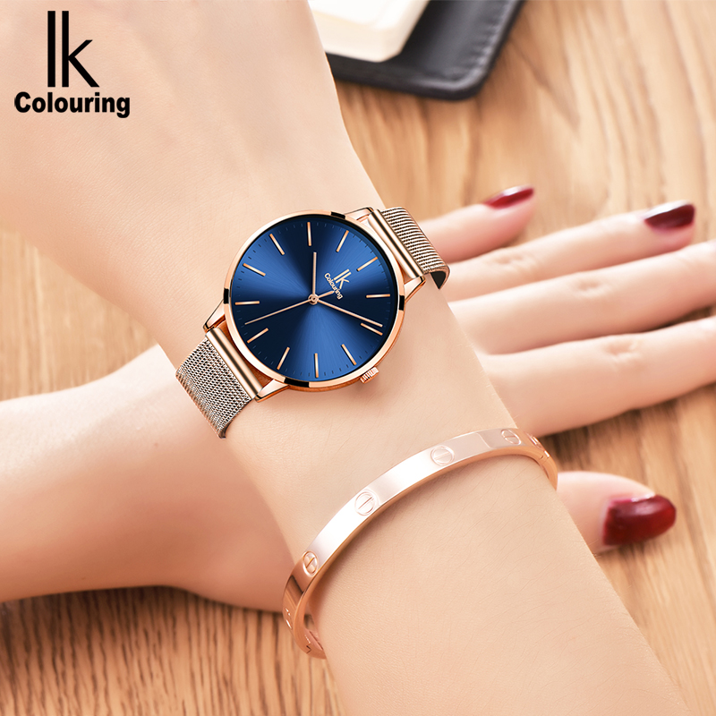 купить IK colouring Quartz Watches Women Top Brand Luxury 2018 Stainless Steel Watchband Lady Wrist Watch Waterproof relogio feminino по цене 1427.95 рублей