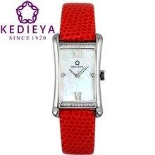 Kedieya женские часы швейцарский кварцевый Ronda движение шарм прямоугольник австрия цирконами стразы перламутр водонепроницаемый кварцевые платье часы женские красный черный белый кожаный