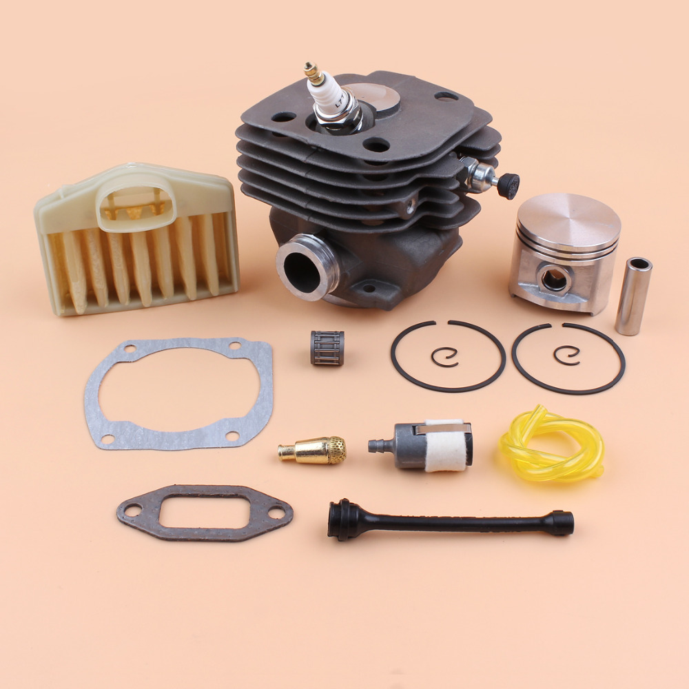 50mm Engine Cylinder Piston Gasket Air Filter Fuel Oil Hose Kit For HUSQVARNA 365 362 371 372 Chainsaw Replacement Parts air filter spring fuel oil line hose cap switch spark plug kit for husqvarna 365 chainsaw