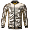 2018 New Fashion Style Solid Gold Color Casual Jacket M 2XL Men Spring Autumn PU Outerwear