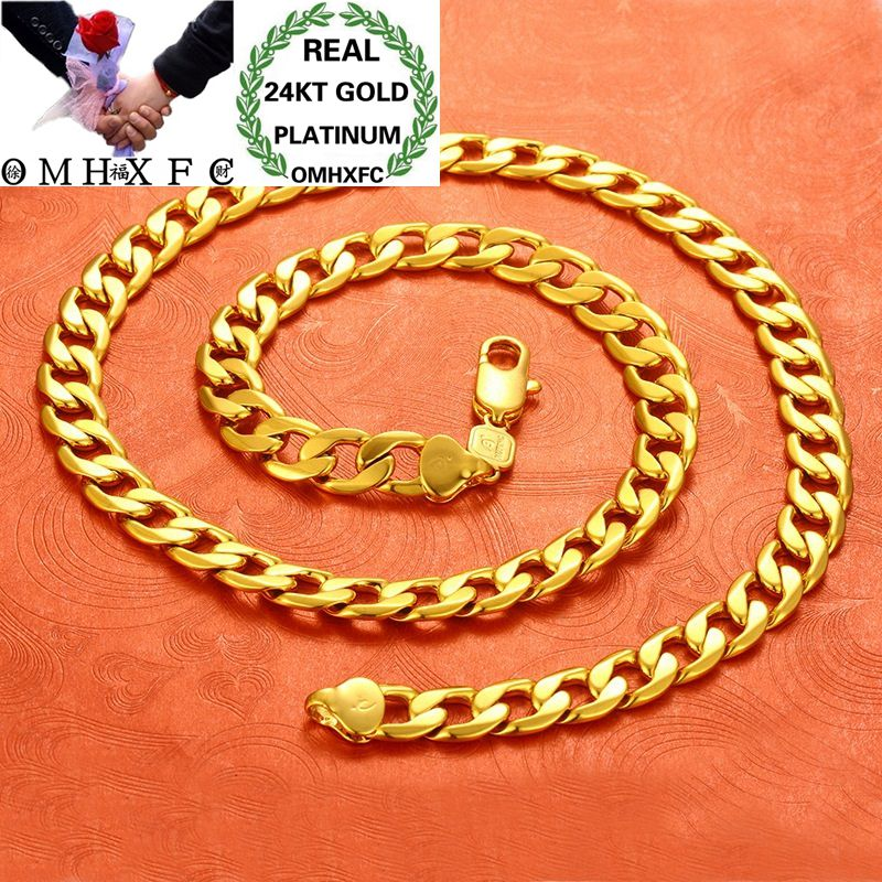 OMHXFC Wholesale European Fashion Man Male Party Birthday Wedding Fine Vintage Figaro Thick 61cm 24KT Gold Chain Necklace EX153