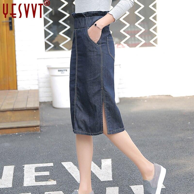 YESVVT 2017 Womens Jeans Jupe Fashion Slim Fit Ladies Elegant Solid Denim  with Double Pocket  Saias high waist jupe de satin пальто