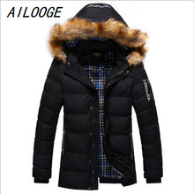 AILOOGE New Brand Clothing Winter Men Jacket Fashion Mens Winter Parka With Fur Hood Casual Warm Men's Coats Thick Long Parkas