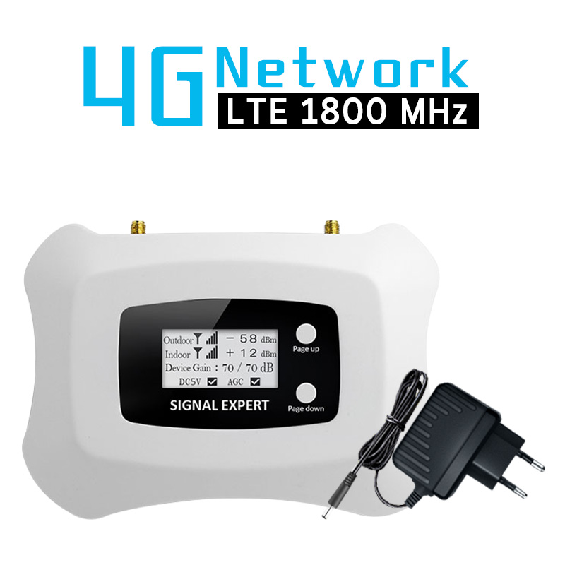 4G LTE 1800 MHz Cellular Signal Repeater Band 3 LCD Display 70dB Gain 4G DCS 1800 Mobile Phone Signal Booster 4G LTE Amplifier