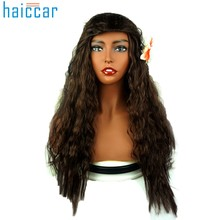 Women's Fashion Brown Classics Long Wavy Wig high quality Cosplay Girl Afro human hair extensions Hair Accessories Dec18(China)