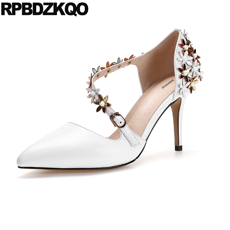 White Stiletto Flower Size 33 Pointed Toe Floral High Heels Ladies Shoes For Wedding Strap Genuine Leather Pumps 3 Inch Bridal 4 34 small size gold shoes wedding pointed toe 7cm 3 inch satin high heels stiletto 33 flower pumps ladies colourful embroidery