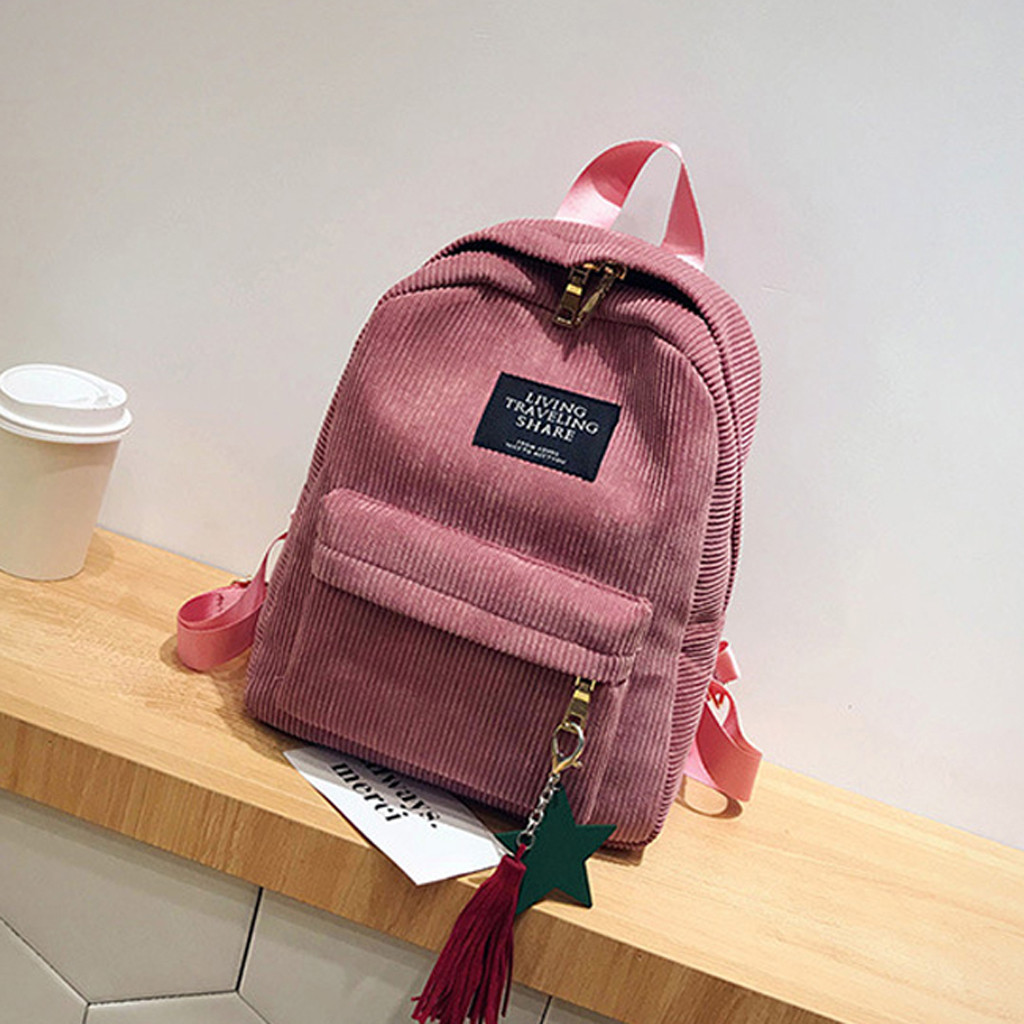 Black Bag Travel-Backpack Tassel School-Bags Canvas Women Fashion For May3