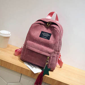 Women's Backpack Bag Tassel School-Bags Canvas Black Fashion for May3