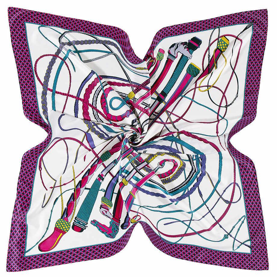 130 см конский хлыст большой носовой платок роскошный бренд шарф саржа 100% квадратный шелковый шарф шарфы женский платок для дам шаль Echarp