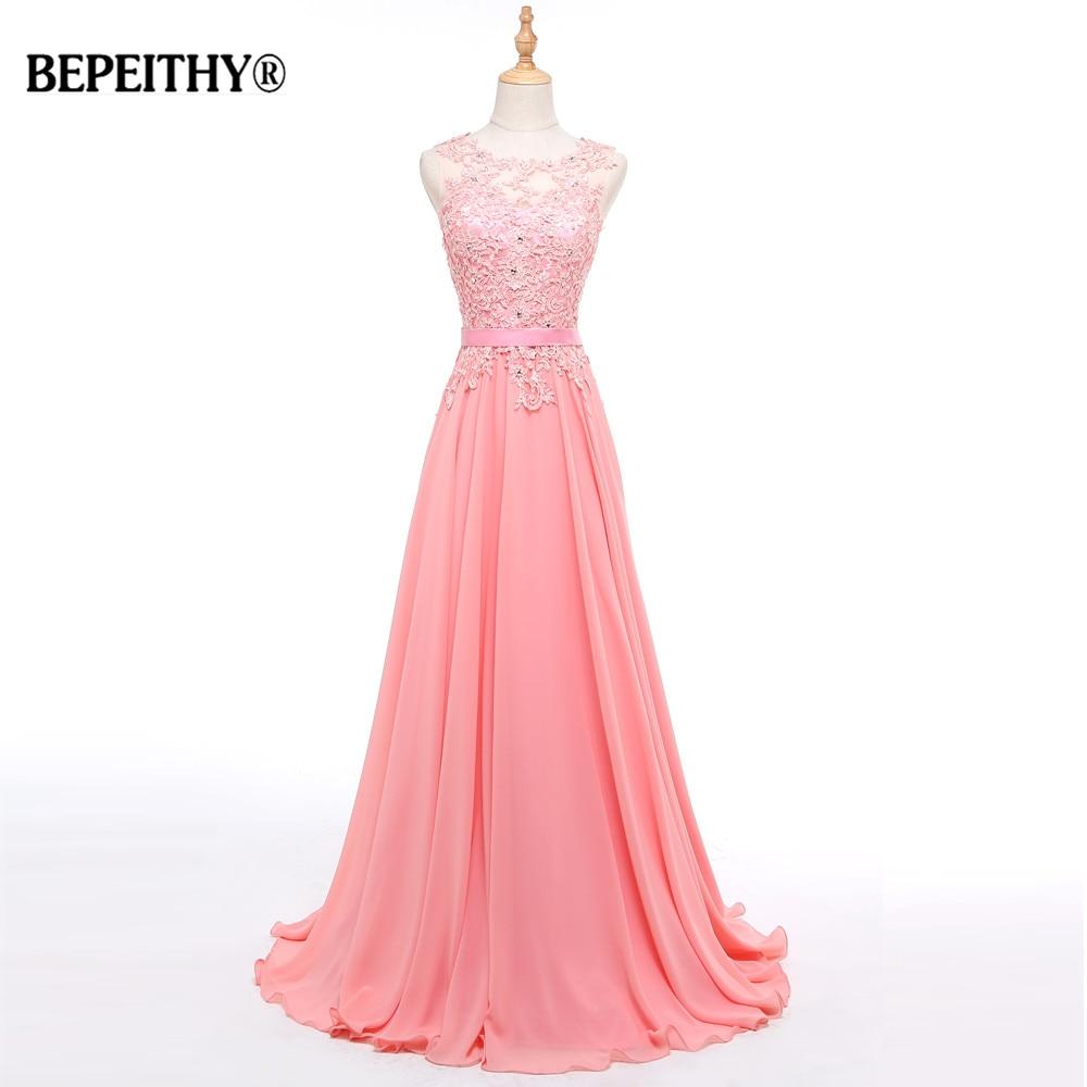 BEPEITHY Vestido De Festa Long Evening Dress Sleeveless Mystical Pink Elegant Lace Up Ever Pretty Dresses Formal Vestido Longo