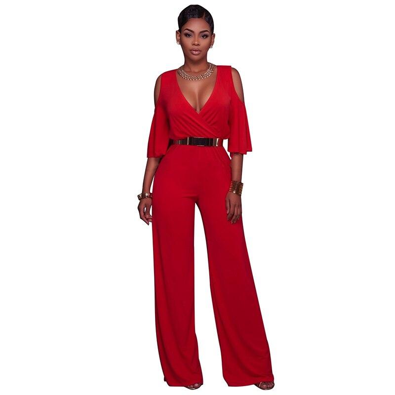Blue Red Women Jumpsuit 2017 Summer Elegant Ladies Bodysuit New Fashion Butterfly Sleeve Deep V Off