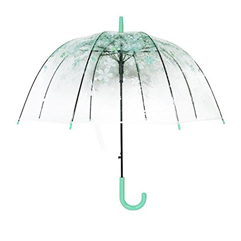 Женские резиновые солнце зонтик длинная ручка Прозрачные Зонтики Cherry Blossom гриб принцесса @ LS