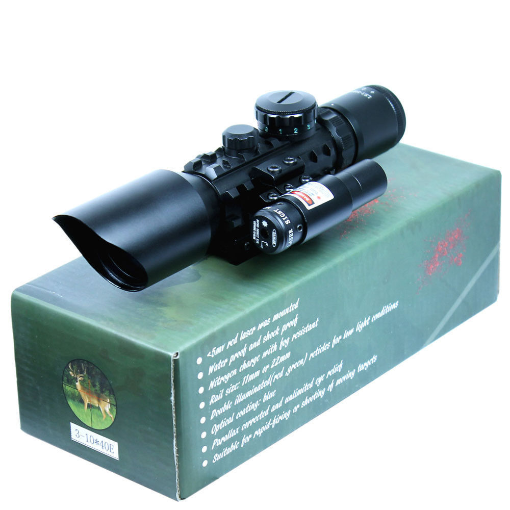 Hunting Gun Optics 3-10x40 E Tactical Rifle Scope Red Laser Dual illuminated Mil-dot w/ Rail Mounts Combo Airsoft Weapon Sight tactical rifle scope 3 10x40 red laser dual illuminated mil dot w rail mounts combo airsoft weapon sight hunting