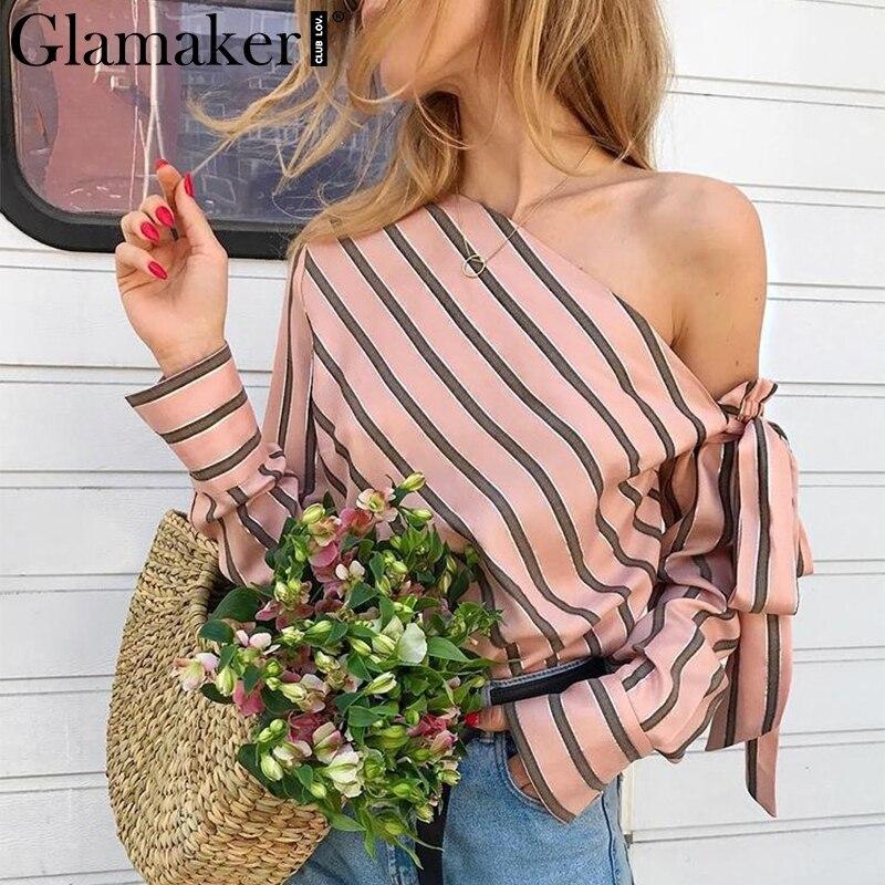 Glamaker Striped chiffon one shoulder women blouse shirt Summer elegant casual female blouses sexy streetwear blusas shirts tops