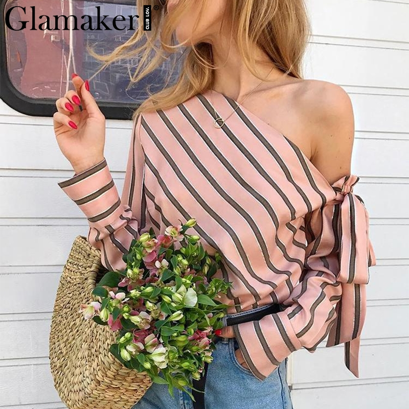 Glamaker Striped chiffon one shoulder women blouse shirt Summer elegant casual female blouses sexy streetwear blusas shirts tops
