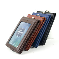 Nahoo Vertical Style ID Genuine Leather Badge Holder Business Case Card Holders Name Tag Id Card Lanyard Retractable Lanyard