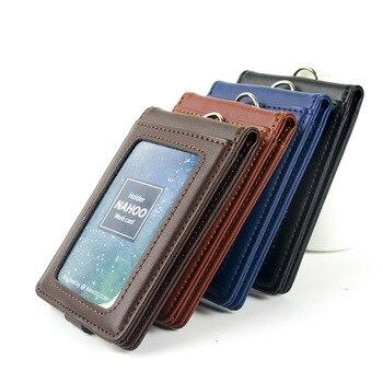 цена на Nahoo Vertical Style ID Genuine Leather Badge Holder Business Case Card Holders Name Tag Id Card Lanyard Retractable Lanyard