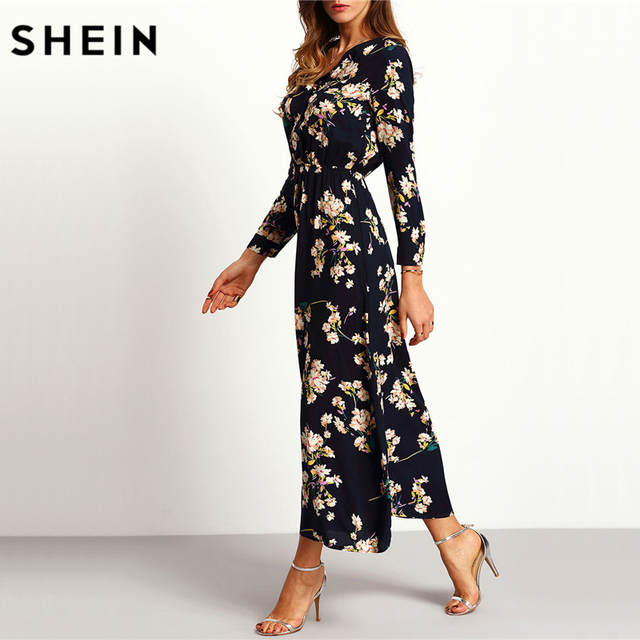 6d7e4efa17 SHEIN New Arrival Boho Women Maxi Dresses Navy V Neck Long Sleeve Womens  Elegant With Button